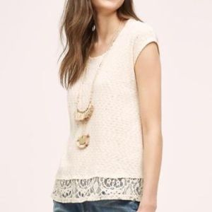 Anthro Everleigh Traipse cream lace tunic top
